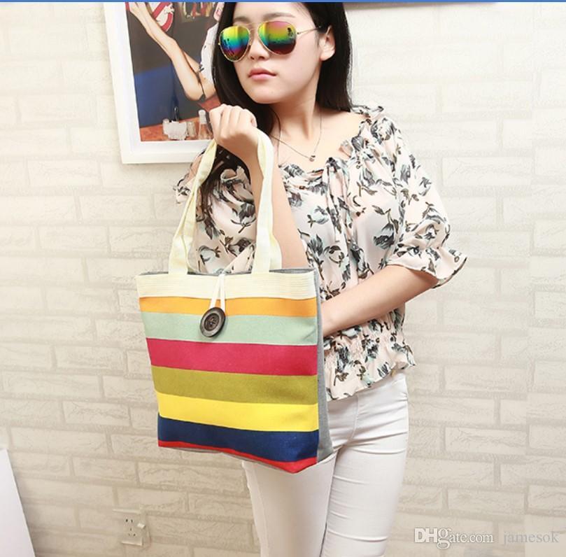 Saco listrado do arco íris sacos de lona bolsa de ombro Sacos De Armazenamento bolsa feminina Casual mulheres Shopping praia tote DB0011