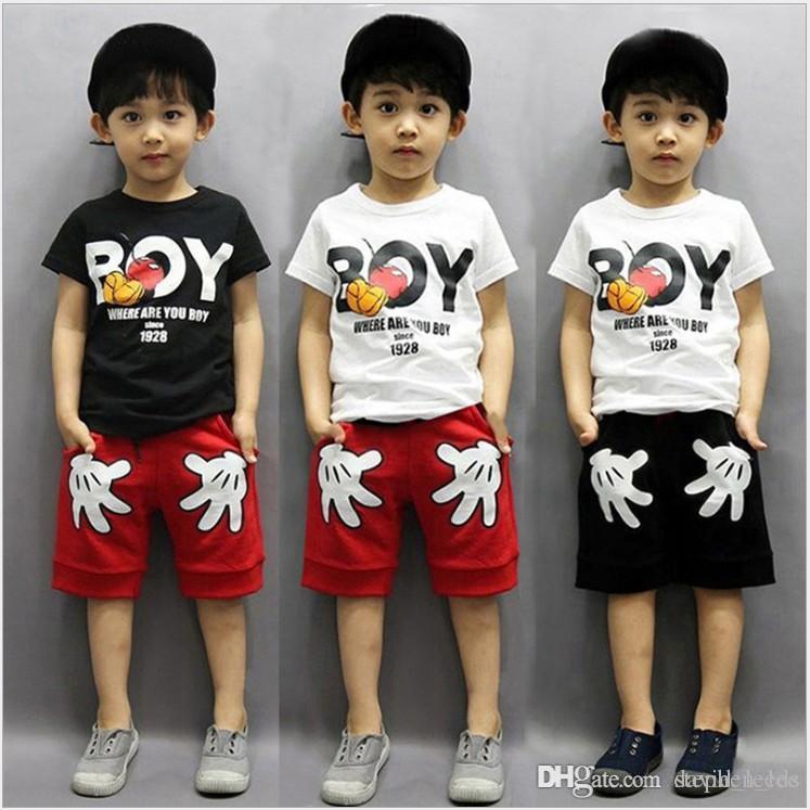 2019 New Baby Boys Boys Summer Abbigliamento Set Bambini Cartoon manica corta T-shirt + Shorts 2 Pz Set Bambini Abiti Bambini Abiti da ragazzo Tute Tracksuit