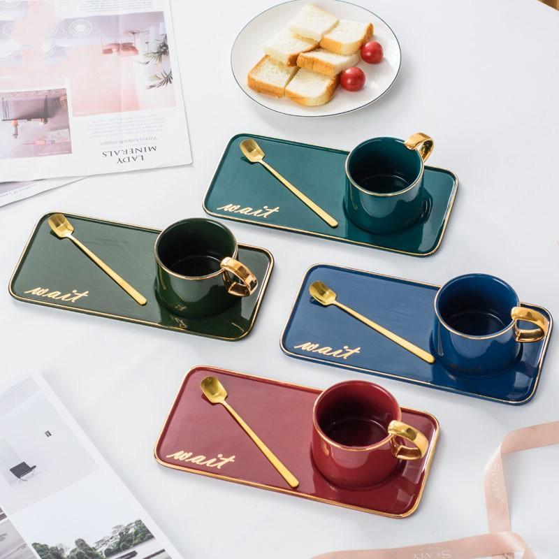 Cerâmica Coffee Cup Set Nordic banhado a ouro caneca de cerâmica copo de café e pires Set Chá da Tarde Dinnerware Set