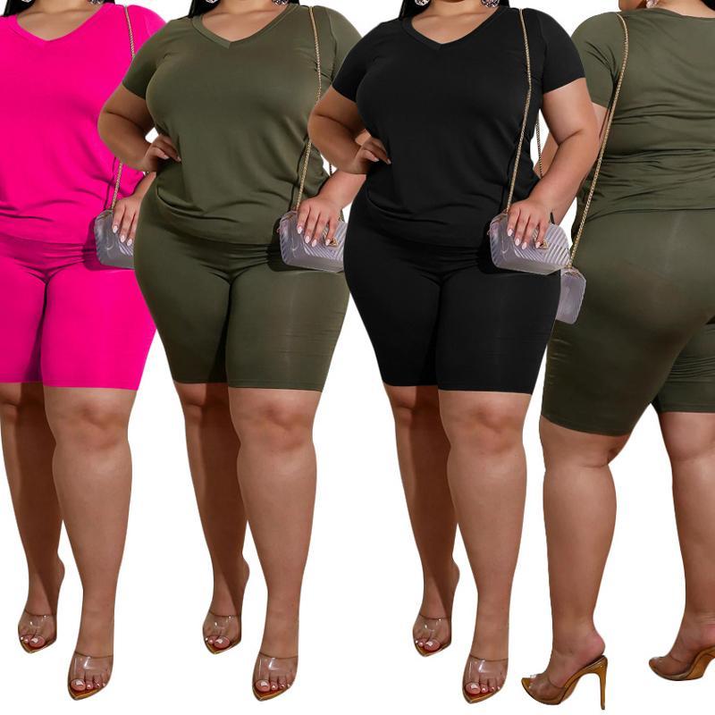 iki parçalı set artı boyutu rahat katı kısa kollu mahsulü SPORTWEAR eşofman kadın tişört pantolon takım elbise kıyafet T200521 başında