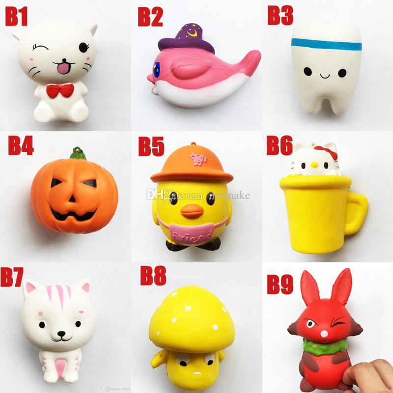 HOT Squishy Toy cat tooth squishies Slow Rising 10cm 11cm 12cm 15cm Soft Squeeze Cute Cell Phone Strap gift Stress children toys