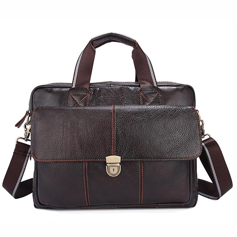 Factory direct Genuine Leather Men's Bag Casual Business Men's handbag Briefcase First layer Leather Laptop Bag