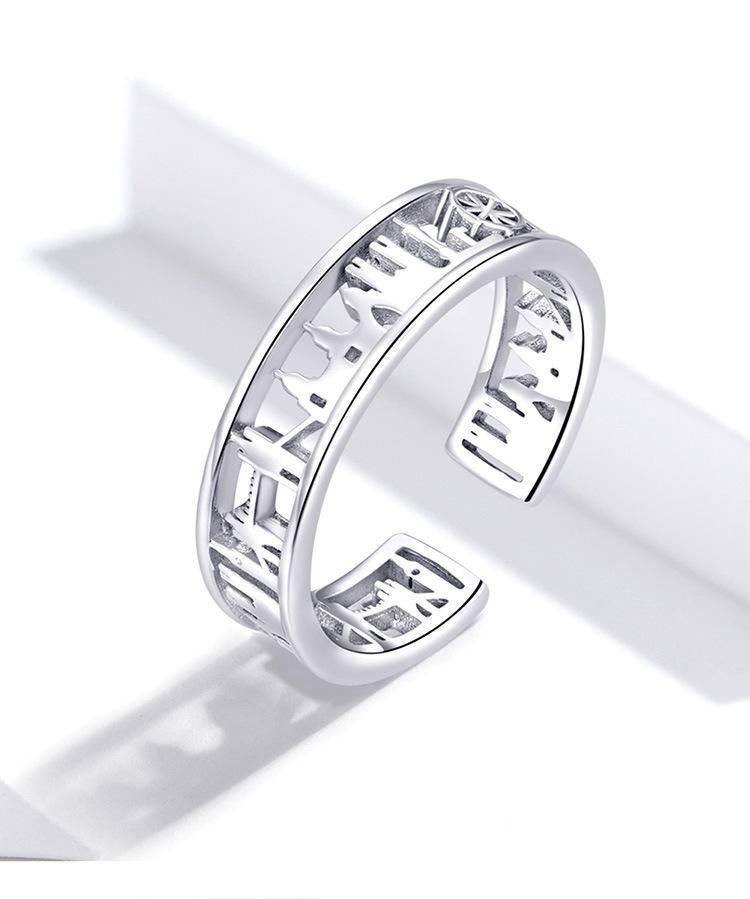 S925 hueca ciudad fuera el anillo de compromiso simple abierta Mujeres personalidad de los anillos de regalo de Navidad de los amantes del partido del anillo de plata esterlina 2020 joyería fina