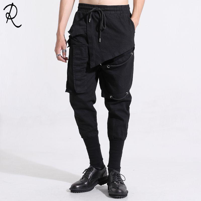 Orijinal erkek moda erkek bahar giyim kişilik ekleme ince küçük ayaklar dokuz dakika pantolon erkekler bacak pantolon paket