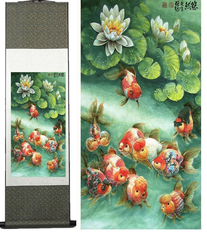 Pinturas de rolagem de seda pintura de peixe arte tradicional pintura chinesa paintingprinted