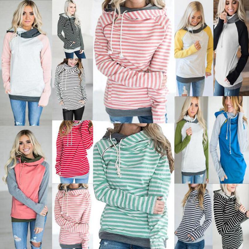 Fashion-donne Pocket patchwork con cappuccio 16 stili Autunno Inverno Felpa con cappuccio a maniche lunghe a righe Pullover Top LJJO7132