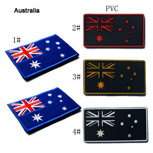 VP-165 Bandiera australiana ricamata Patches Badge PVC Morale Patches Hook Loop Bandiera 3D AUS Badge tattici militari