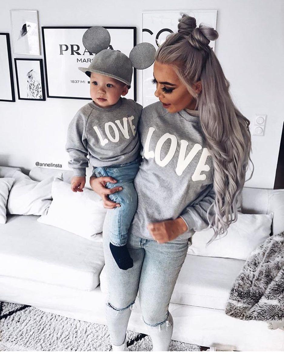 Aile Kazak AŞK Tişörtü için 2019 Sonbahar Kış Anne ve Ben Anne Kızı Elbise Aile Giyim Anne Oğul Kıyafetler