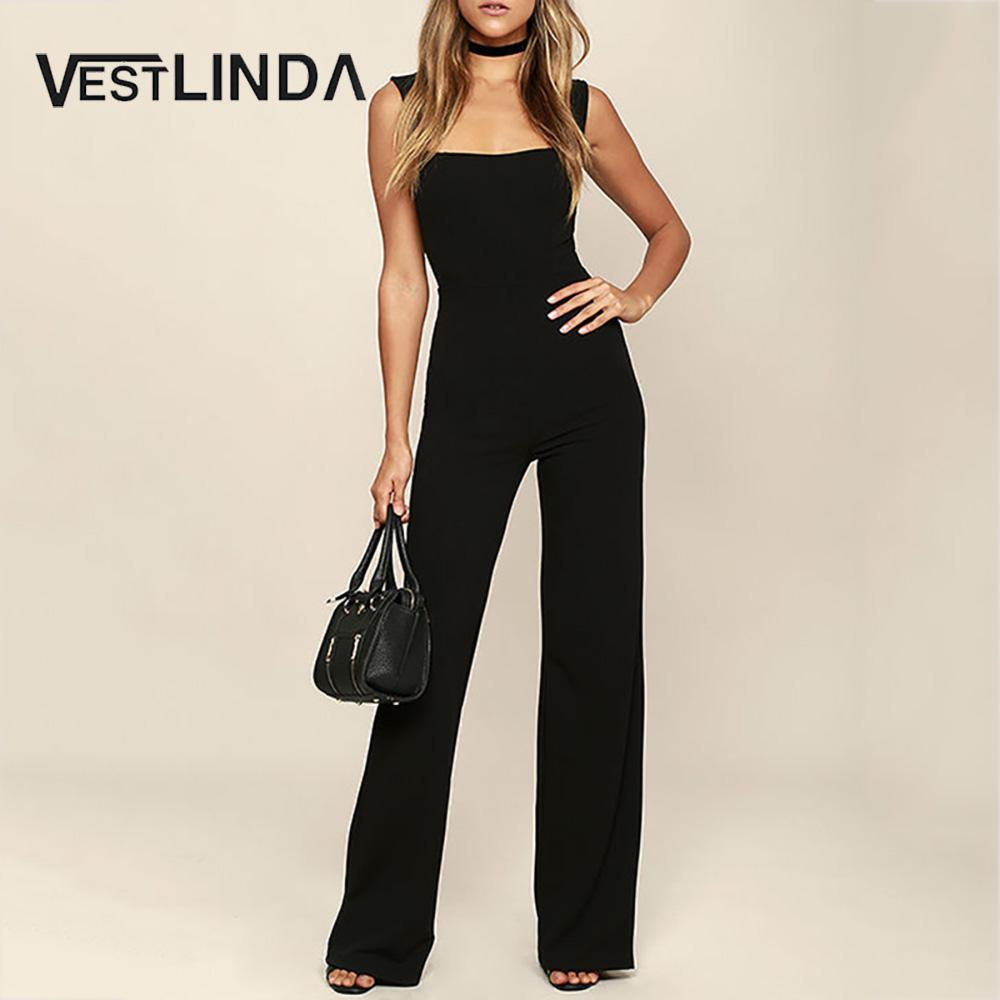 VESTLINDA Summer New Women Sexy Jumpsuit Slim Body Flared Pants Women Sexy Party Clubwear Jumpsuits Casual Overalls Plus Size