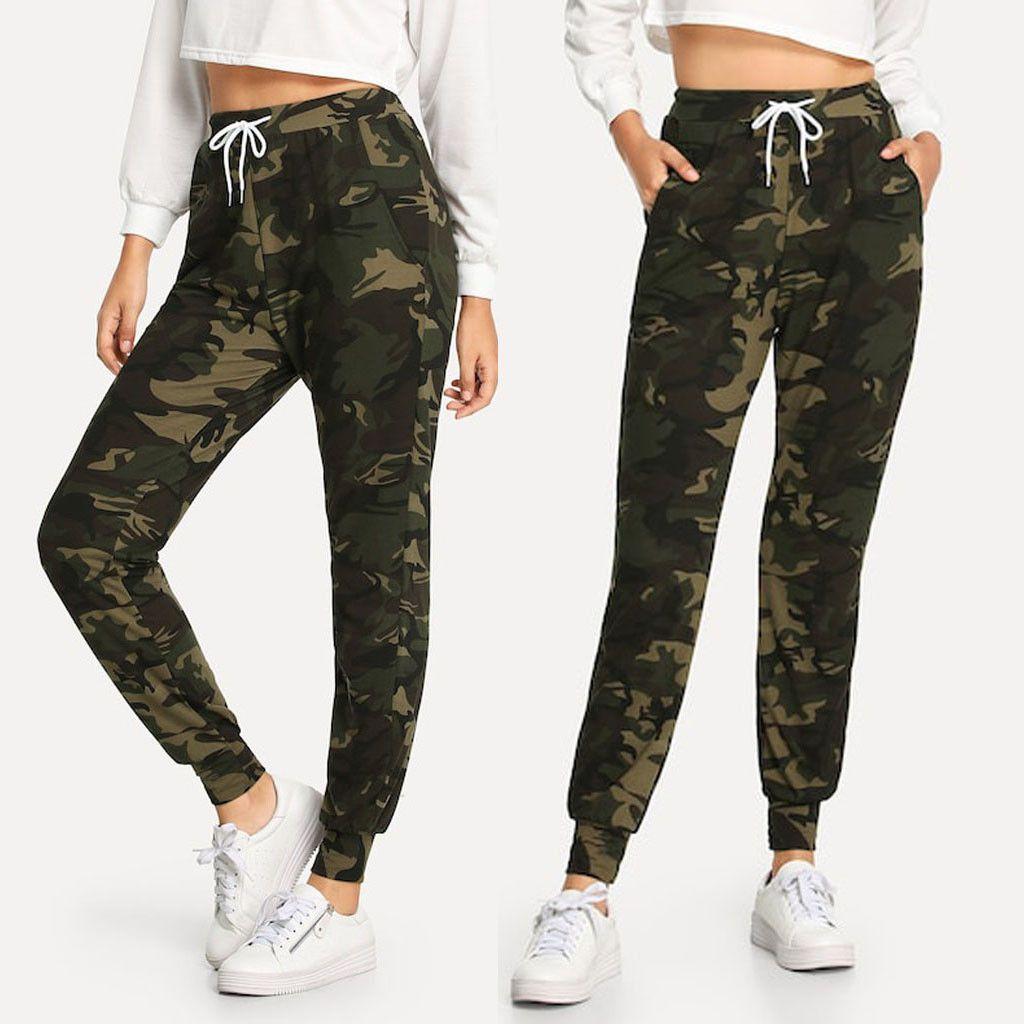 Mulheres Camuflagem Esportes Leggings Impresso Bolso Com Cordão Casual Alta elasticidade Basculador Sports Leggings Calças pour femmes