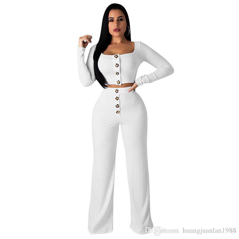 2019 Color sólido de gama alta sexy cuello bajo manga larga camiseta umbilical botón recto pantalones de cintura alta dos trajes