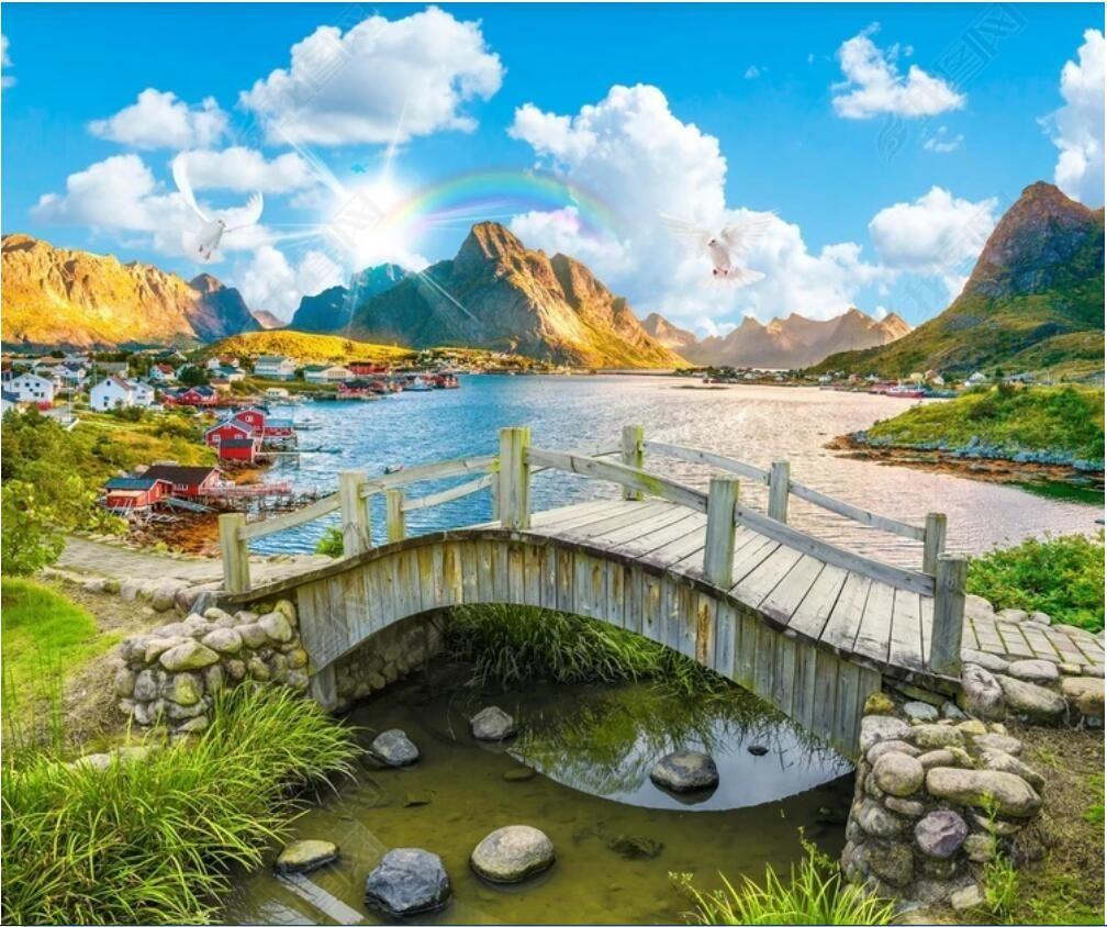 3d papel de parede personalizado foto Extremamente belo paisagismo lago paisagem ponte de madeira paisagem frameless pintura papel de parede para paredes 3 d