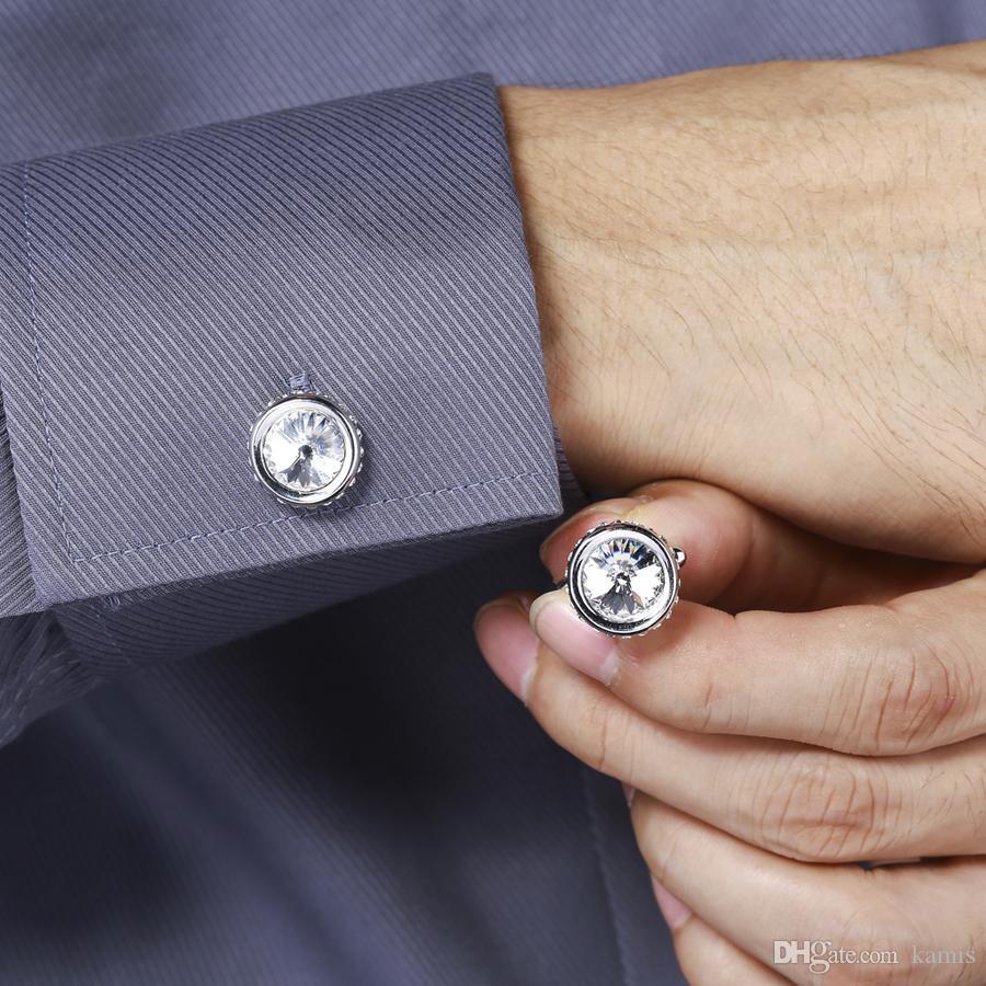 damat için yeni yuvarlak şekil düğün kol düğmeleri takı aksesuarları erkekler için Avusturyalı kristal iyi yılbaşı hediyesi ile yapılan
