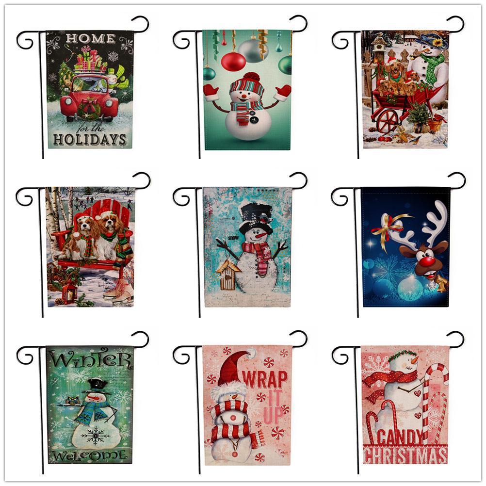 9 estilos Navidad Jardín Banderas Banderas Patrón de dibujos animados Tema de Navidad Dos lados animal Patrones de muñeco de nieve Decoración de fiesta Bandera FFA2826