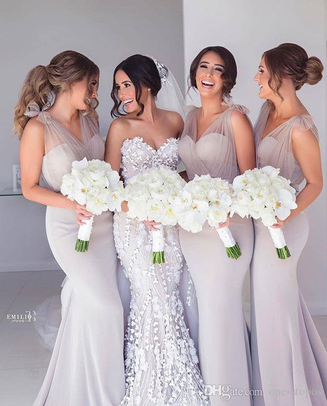 2019 Eleagnt V Neck Mermaid Bridesmaid Dresses Cheap Sheath Wedding Guest Gown Long Formal Party Prom Evening Maid Of Honor Dresses