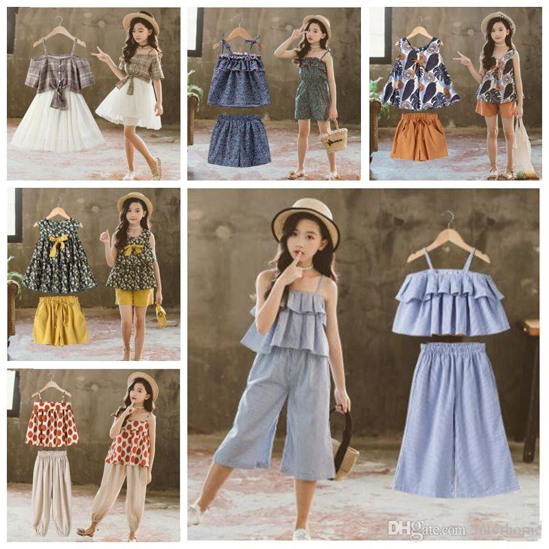 Baby Girls Clothes Big Girls INS Summer Outfits Children Lovely pattern tops Dot shorts skirts sets clothing Kids Cartoon Clothing Set LT964