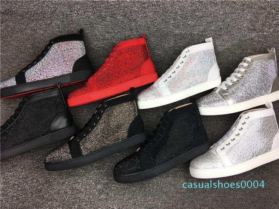 Erkekler ve Kadınlar Partisi Tasarımcı ayakkabı AC04 için Moda Tasarımcısı Sneakers Çivili Dikenler Kırmızı Alt Ayakkabı Flats Ayakkabı