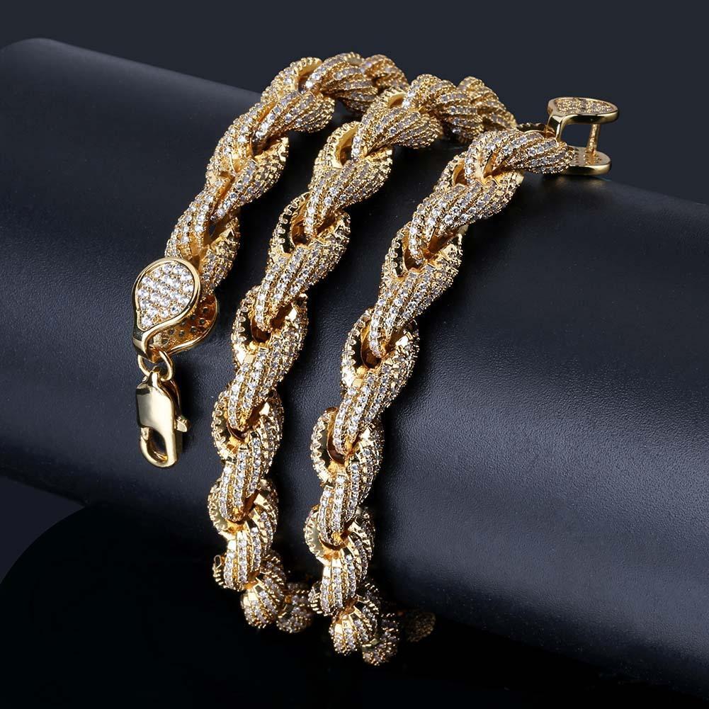 Oro gioielli regali di nuovo stile placcato CZ completa zirconi corda della collana della catena 8 millimetri diamante pieno d'argento di Hip Hop punk rock per Guys all'ingrosso
