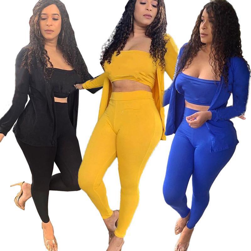 Frauen Marke 3-teiliges Set Herbst Sommerkleidung sexy Sweatshirt Brust Wickelhosen Sportswear Cardigan Weste Leggings Outfits Mantel Bodysuits 0070