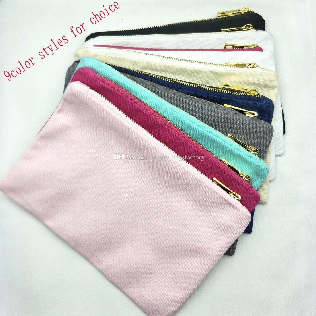 9 ألوان نمط حقيبة قماش سميك ماكياج مع الذهب الرمز البريدي بطانة أسود / أبيض / كريم / رمادي / البحرية / النعناع / الساخنة الوردي / حقيبة أدوات الزينة وردي فاتح في الأوراق المالية