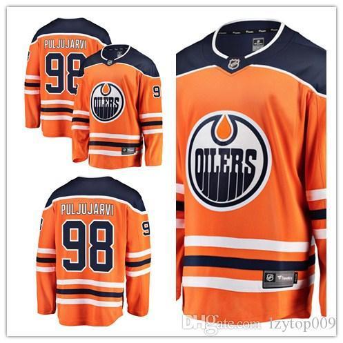 personalizados 2019 da Men Oilers 98 Jesse Puljujärvi Fanatics Branded Laranja Breakaway Jogador Edmonton mulheres crianças Jersey