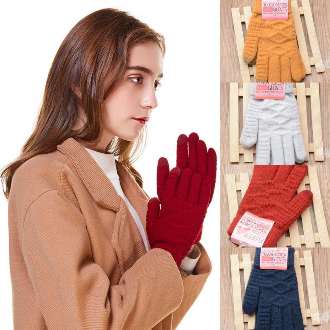 Açık Sevimli Moda Kış Kadın Eldivenler İmitasyon Kaşmir Örme Eldiven Jakarlı Karşıtı Ağız Dokunmatik Ekran Sürüş Eldiven