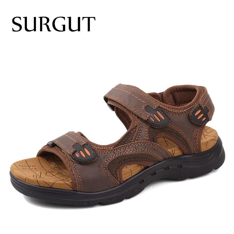 SURGUT Marca Homens Sandálias de Couro Genuíno Chinelos de Verão Respirável Confortável Gancho-Loop Praia Homens Sapatos Casuais Plus Size 38-47 # 130134