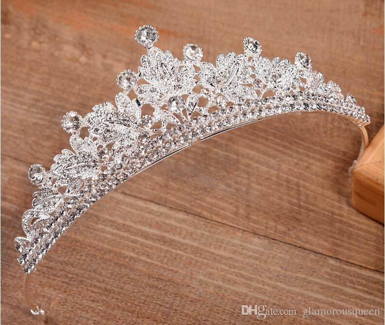 casamento New Gold Silver Bling Tiara Crown nupcial de luxo cristal Headpiece elegante Hairband Bridal Party menina Prom Queen Quinceanera Tiara