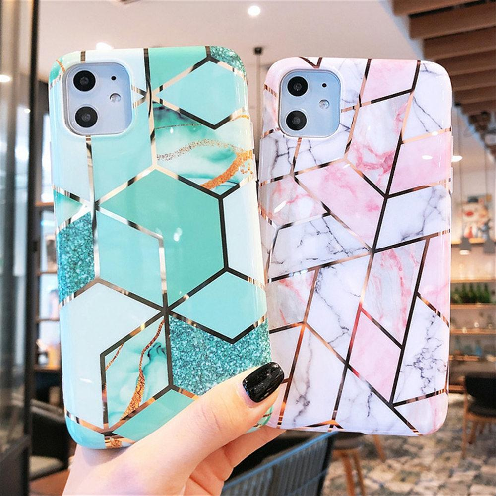 Electroplated Marble Geometric Phone Case For iPhone 11 Pro X XR XS Max 7 8 6 6s Plus Soft IMD Silicone Back Cover
