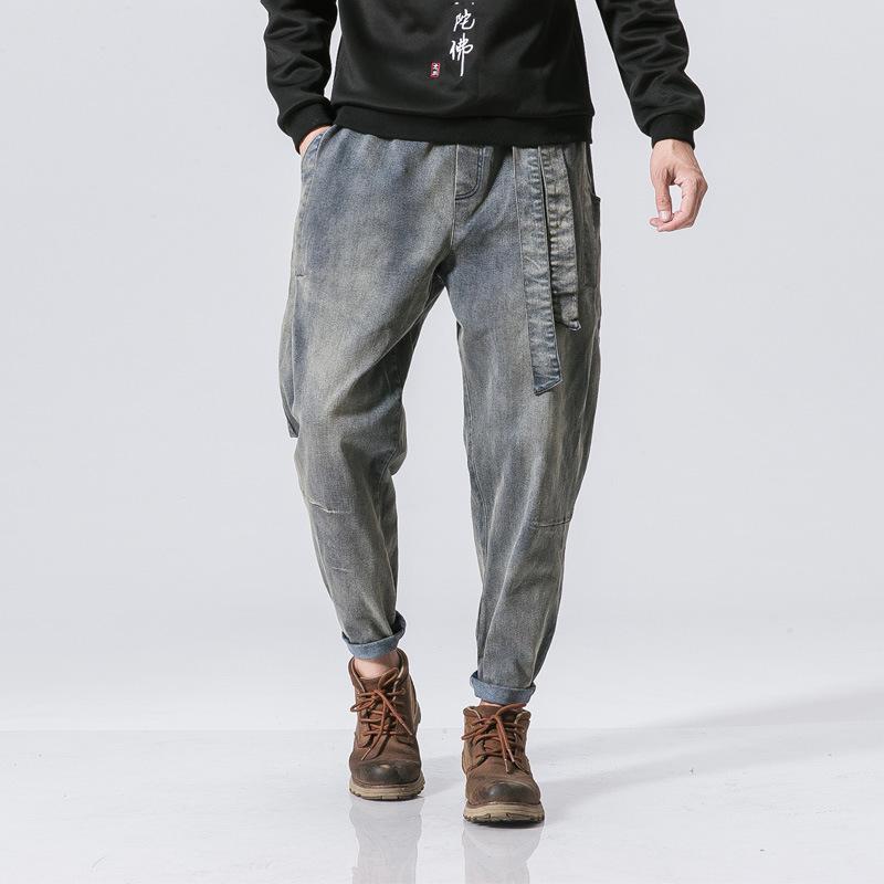 2019 осень и зима Новый стиль Японский стиль стирка свободного покроя пояс джинсы китайский стиль ретро мужские молодежные брюки