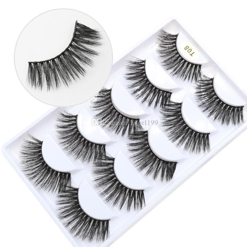 T08 Fabrik Großhandelspreis 7 Arten 5pais EyeLashes natürliche falsche Wimpern 5 Paare 3D Nerz Wimpern silk Wimper freies Verschiffen