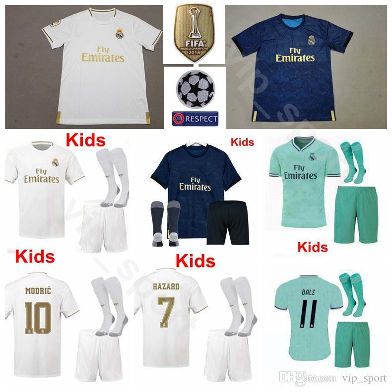 Jugend BENZEMA Trikot Kinder Real Madrid 19-20 Fußball Socken Set MODRIC VINICIUS JR RODRYGO MILITAO ISCO KROOS JOVIC VARANE Fußball Trikotsets