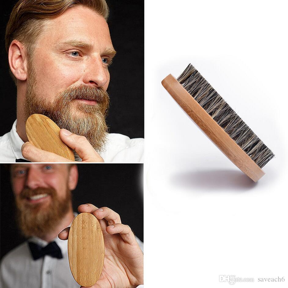 Men Natural Boar Bristle Beard Brush Shaving Brush Comb Face Massage Handmade Bamboo Mustache Brushes Beauty Care Drop Shipping