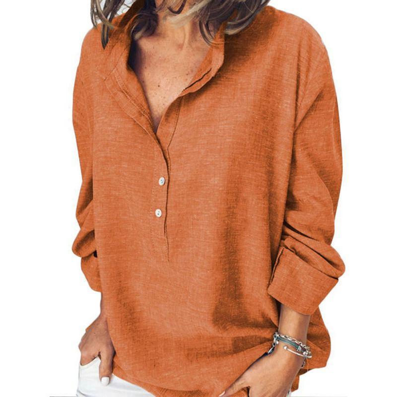 SUMMER Bureau dames Blouse Plus Size Fashion solides manches longues Boutons de col Tribune lâche Femmes Shirt Casual Tops
