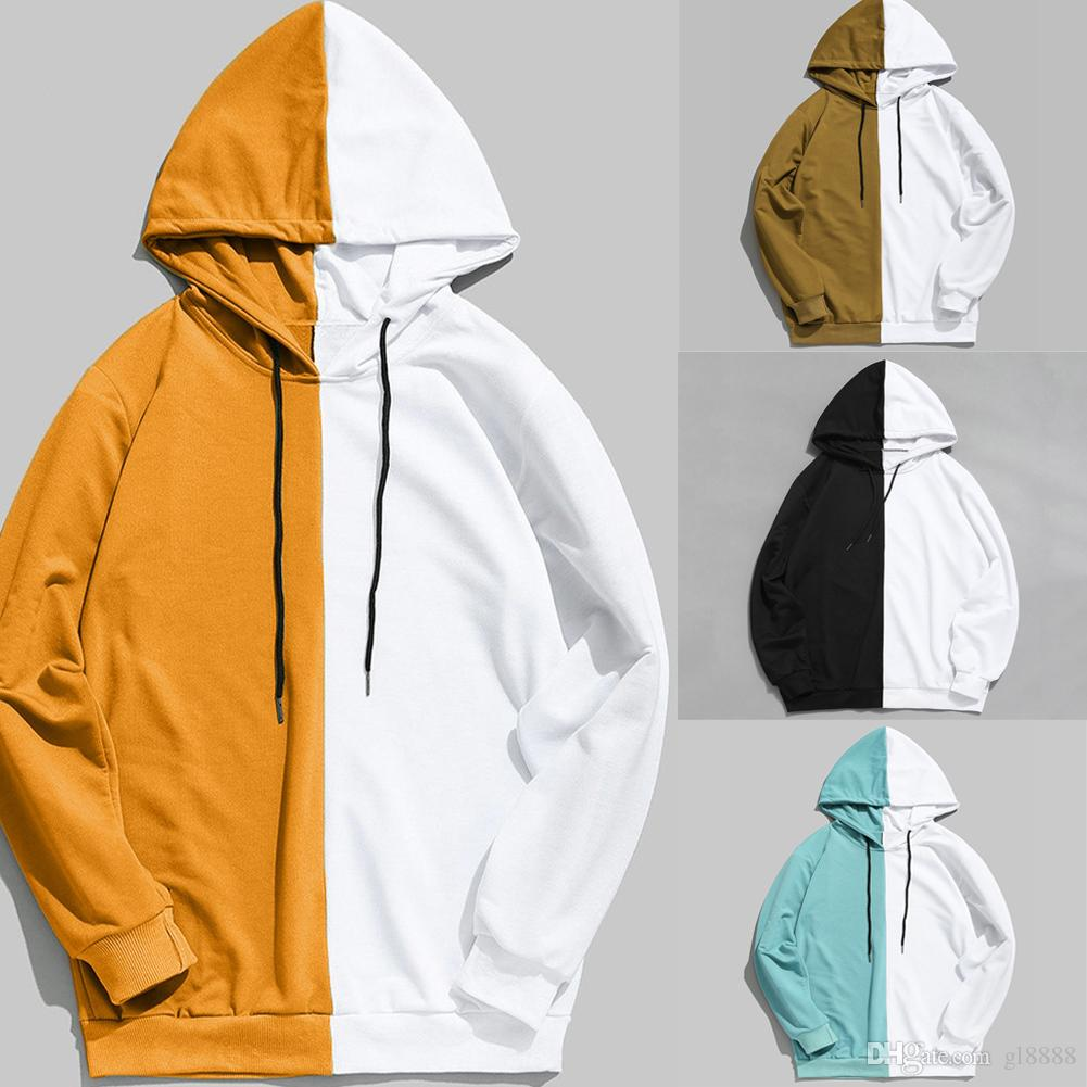 2019 Autumn Fashion Men 's Stitching Sweatshirts Solid Color Zip Up 까마귀 Classic Winter Hooded Sweatshirt S-2XL