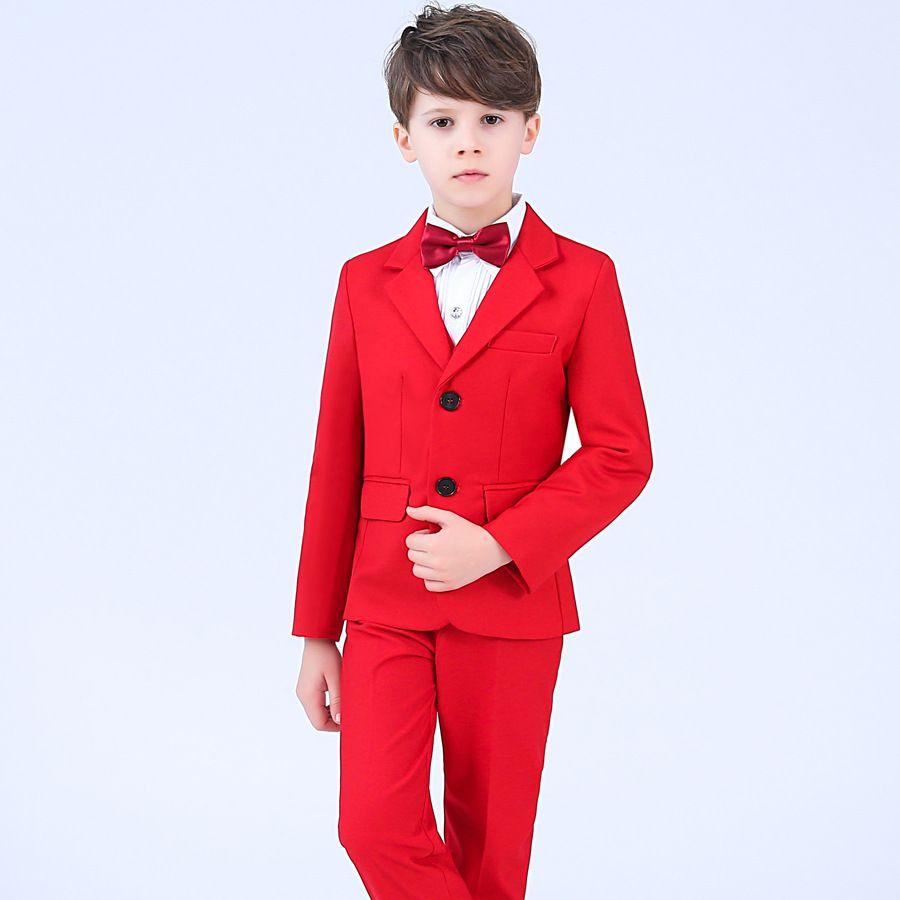 2020 Fashion 4Pcs Toddler & Boys Formal Children Tuxedo Wedding Party Suit Red Boys Suits (Jacket+Pants+Vest+Bow Tie)
