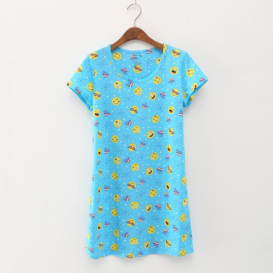 Frau Art und Weise Frauen tragen knielange Nachthemd gestrickte Baumwolle schöne Frauen schließen Hülse Nachthemd Sommer Stil Masthauptkleidung