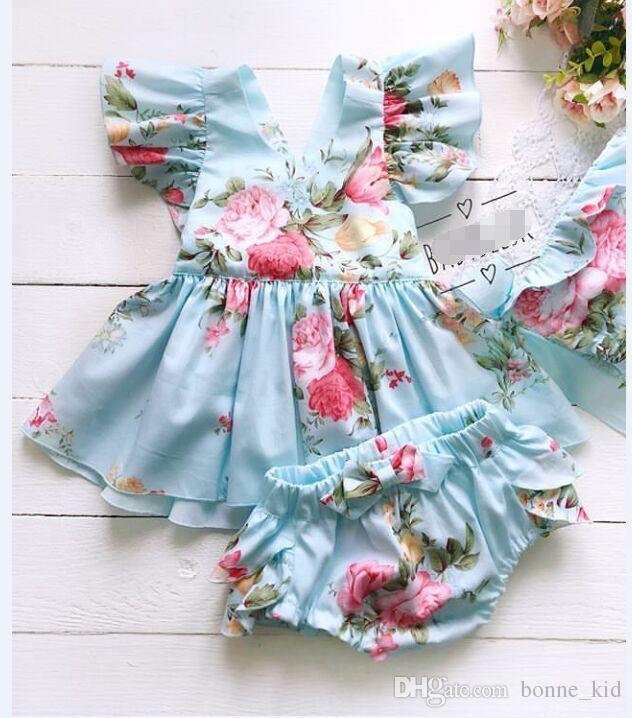 유아 아기 유아 민소매 꽃 PP 반바지 2 종 세트 의상 신생아 아기 소녀 여름 의류 Sunsuit는 의류 드레스 탑