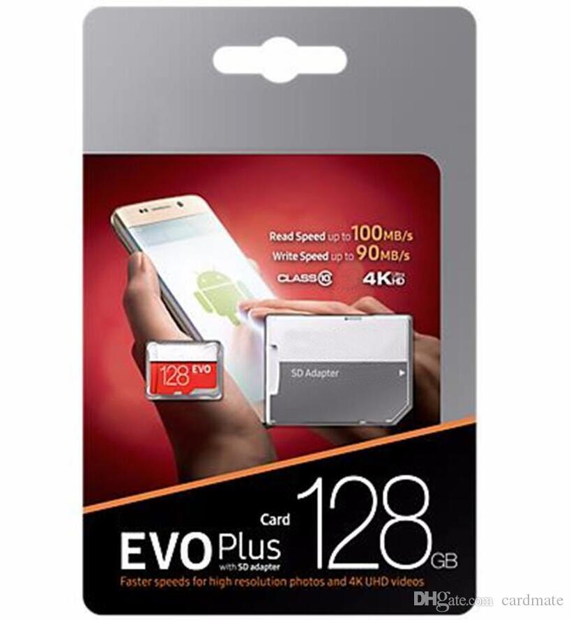 2019 상위 판매 블랙 레드 EVO + 플러스 64GB 32GB 128GB 256GB 100Mbps (U3) 무료 SD 어댑터 블리스 터 패키지 빠른 속도가있는 메모리 카드