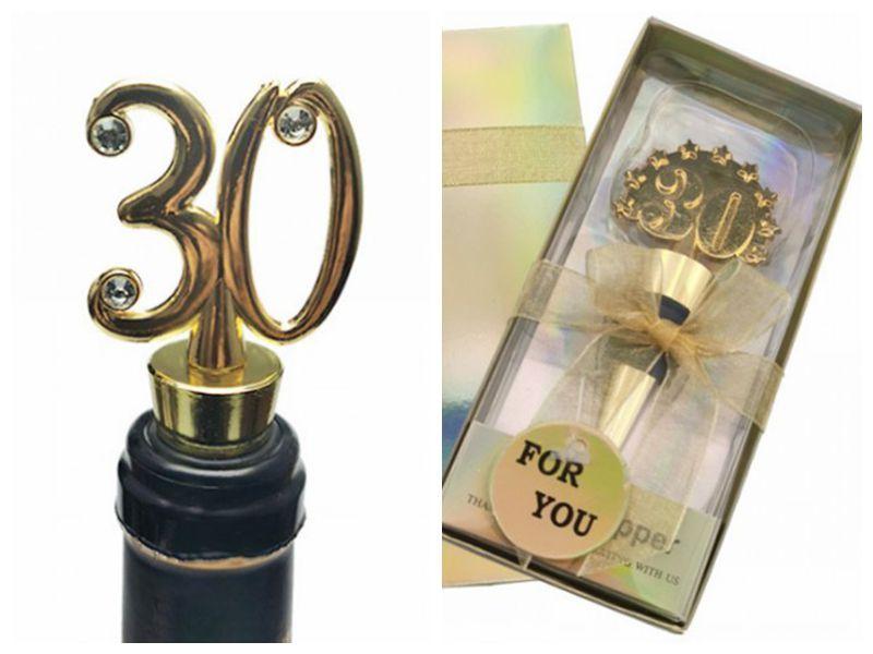 (20 шт / много) Практическая Свадьба Кухня подарок тридцатой бутылки красной вина стопор польза для 30 Corktail партии благосклонности Дня рождения