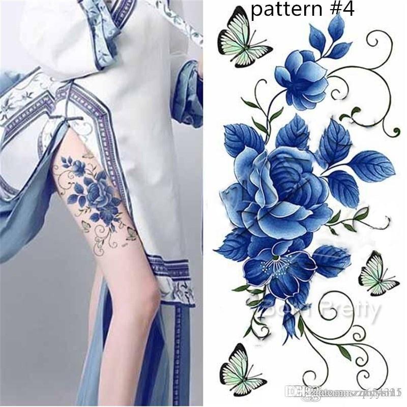 1 Levha Su geçirmez Geçici Dövme Çıkartma Plum Blossom Tasarım DIY Beden Sanatı Dövme Çıkartması Yaz çıkartması mayo