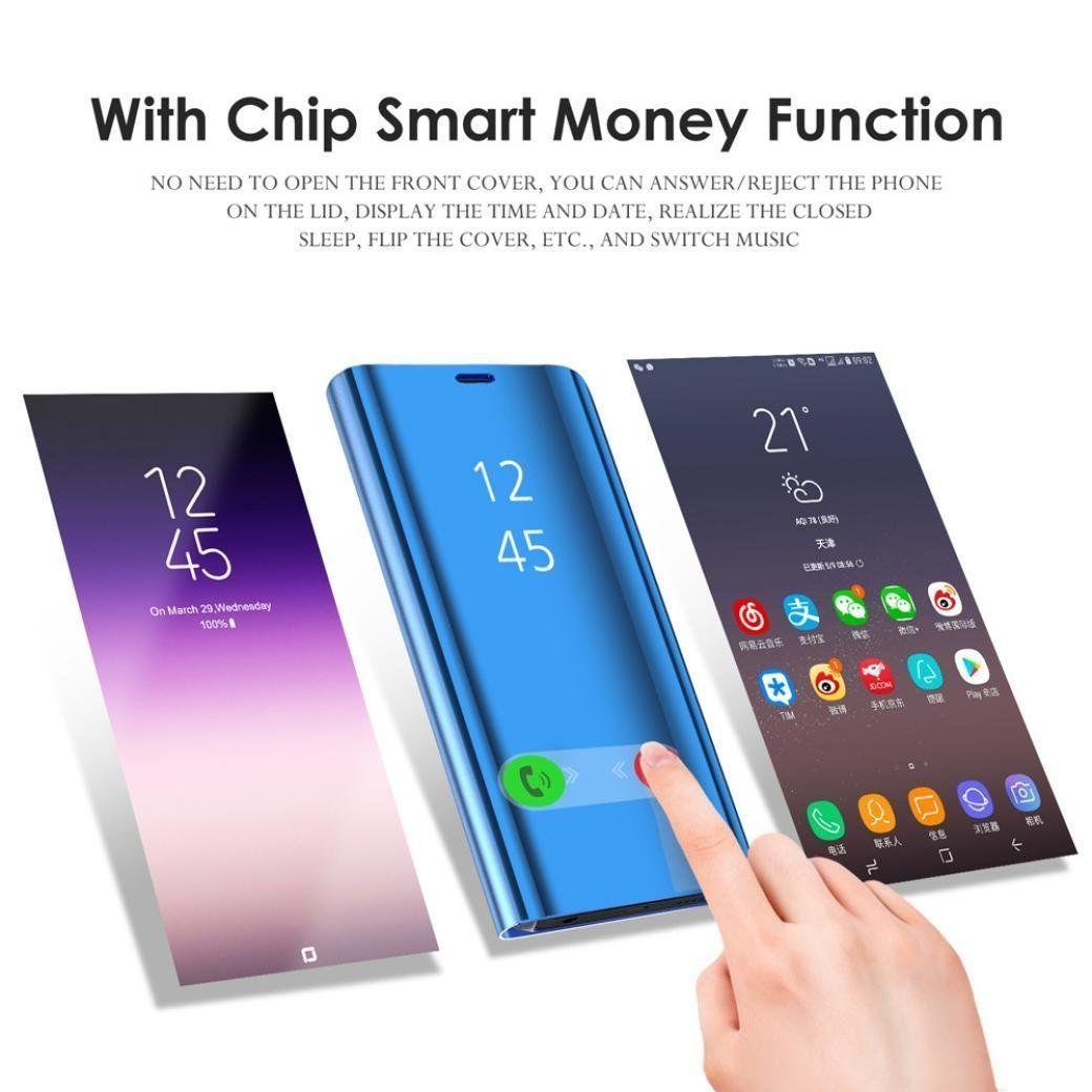 Pour Huawei P30 Lite Y7 2019 Nova 4 Mate 20 Optimisé Angle De Visualisation Miroir Vue Claire Debout Téléphone Couverture