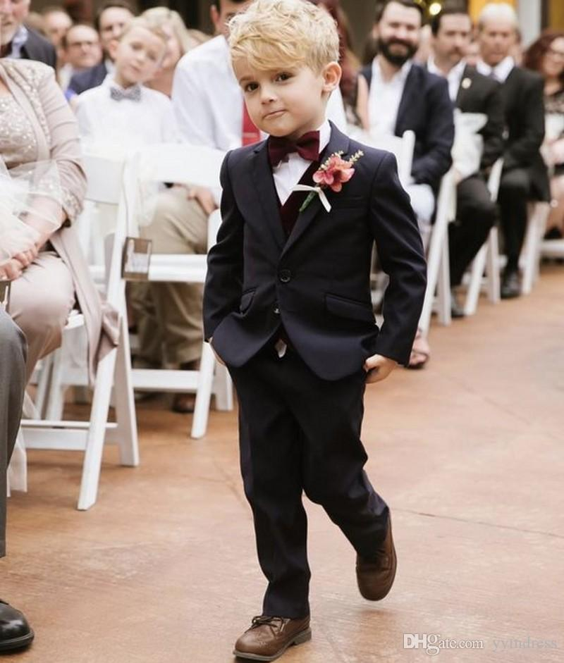 Black Boys Tuxedos 2019 One Button Boys Dinner Suit For Wedding Kids Formal Occasion Suits (Jacket+Pants+Bow)