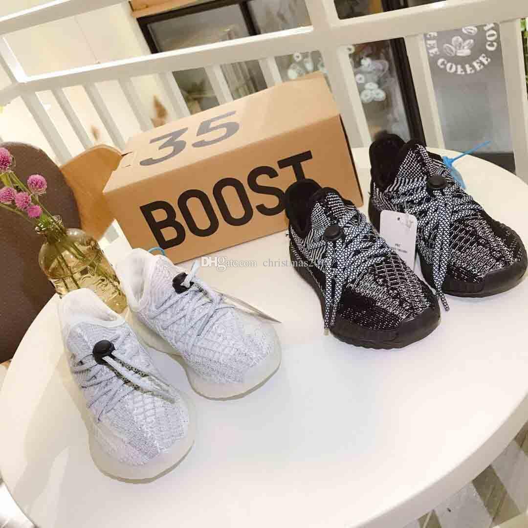 (scatola) 2019 New V2 3 M riflettente statico bambini scarpe da corsa Kanye West bambini moda Sport Athletics Sneakers taglia 27-37