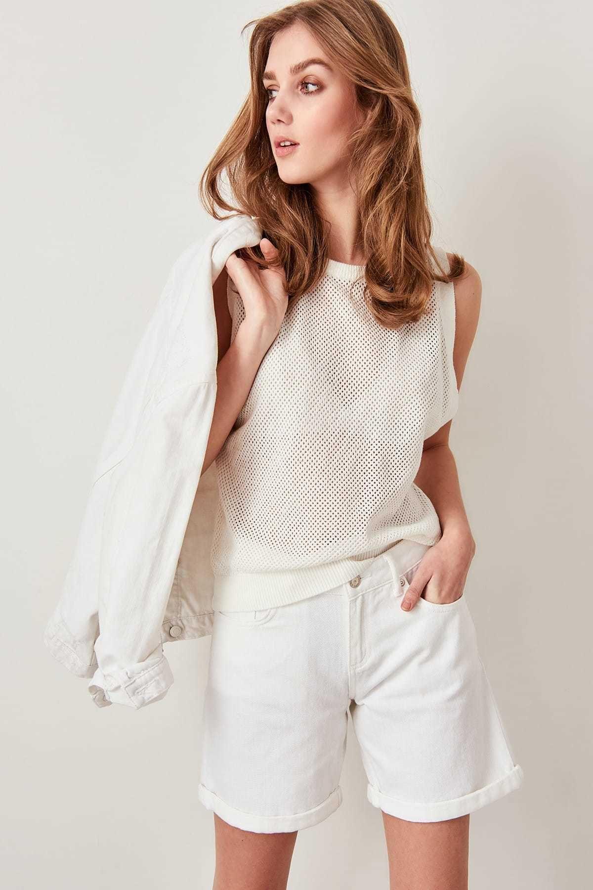 Trendyol prendas de punto de algodón algodón calado Blusa sin mangas Twoss19ww0002 Y19062501