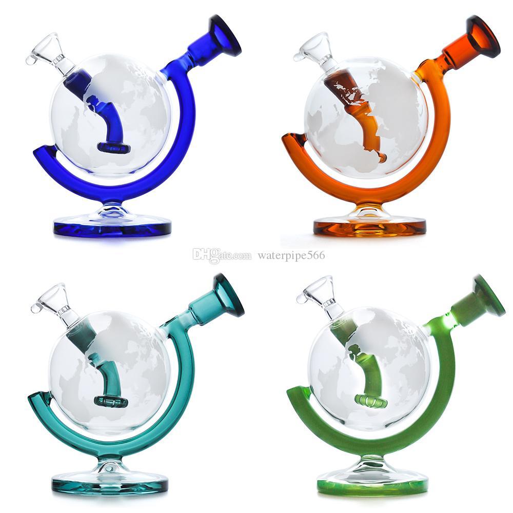 Verre Bong Dab Rig Pipes d'eau 5.7inches Globe recycleur barboteur avec accessoire bol en verre tube verre plate-forme pétrolière de fumée