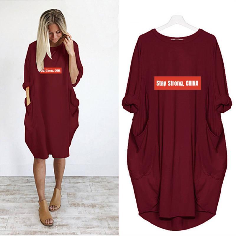 Femmes Designer Shirts Jupe longue d'été marque T-shirts en vrac Robe respirante de poche de luxe lettters imprimé à manches courtes A31