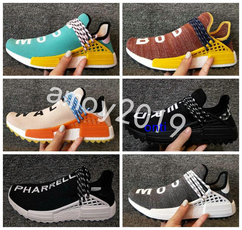 Pharrell Williams Mens Trainers Human Race In Yellow Red Black Blue Grey Green White Men Women Races Sports Sneakers Running Shoes