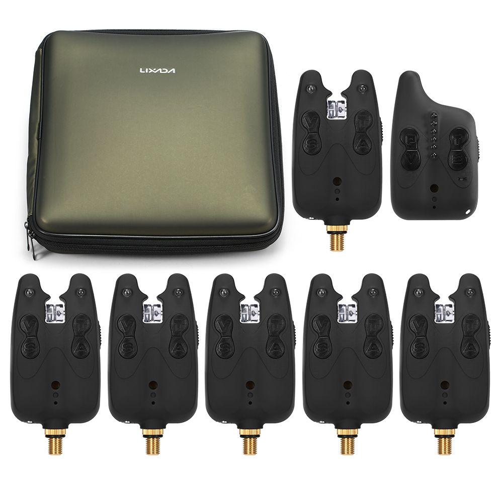 Lixada Wireless Fishing Alarm Fishing Bite Alarms Set Fishing Receiver Sound Alert Kit Led Alarm Indicator with Portable Case