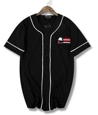 2019 Yeni Hip hop siyah ve beyaz çizgi çabuk kuruyan T-shirt beyzbol üniforma kısa kollu jersey
